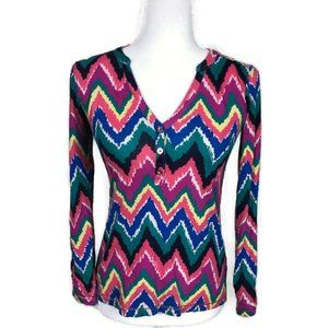 Lilly Pulitzer Long Sleeve Pullover Top Zig Zag